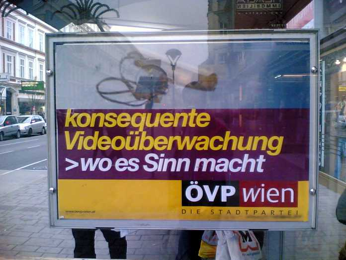 "Plakat ""konsequente Videoüberwachung wo es Sinn macht"""
