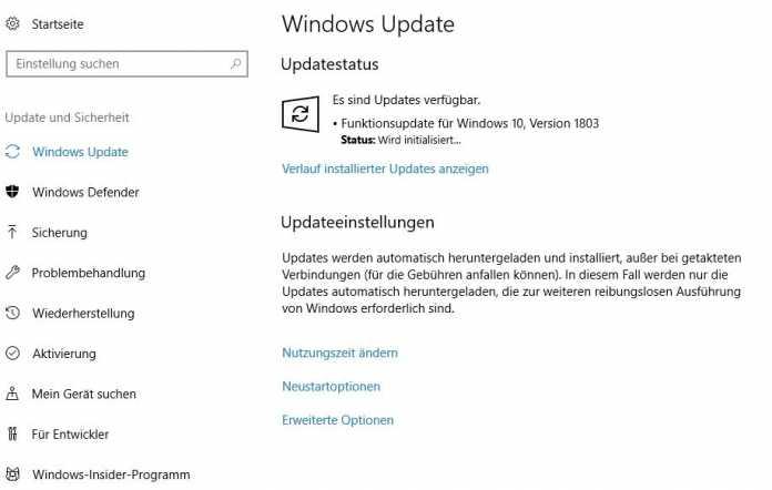 """Wem das """"Windows 10 April 2018 Update"""" nicht automatisch angeboten wird, der kann es in """"Einstellungen/Windows Update""""  aktivieren"""