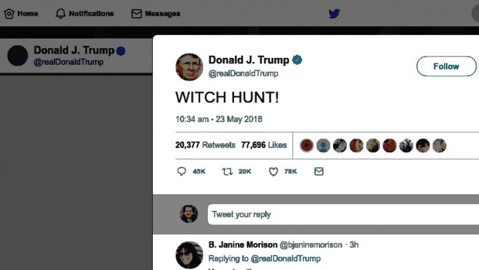"Trump-Tweet ""WITCH HUNT!"""