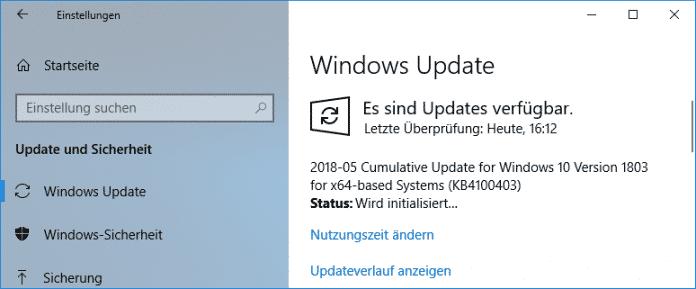 Der Patch aus KB4100403 ist über die Windows-Update-Funktion verfügbar.