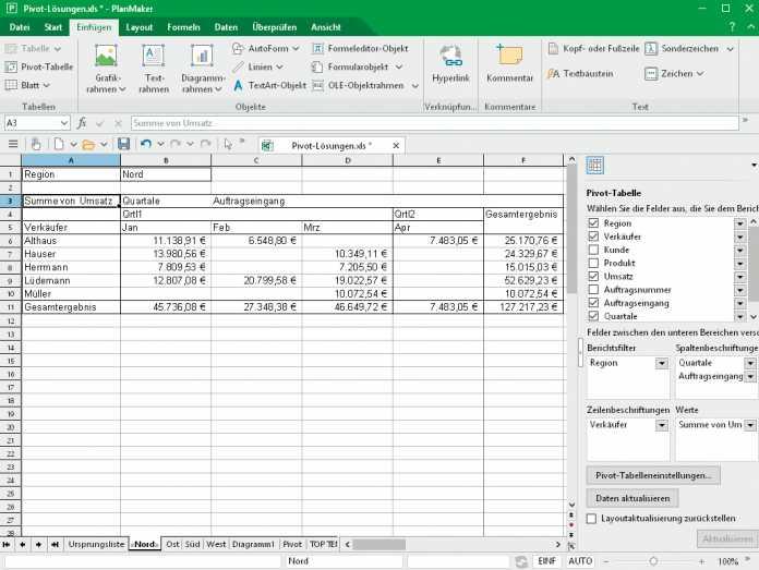 PlanMaker orientiert sich inzwischen auch optisch immer mehr an Excel und bietet hohe Kompatibilität zum Vorbild.