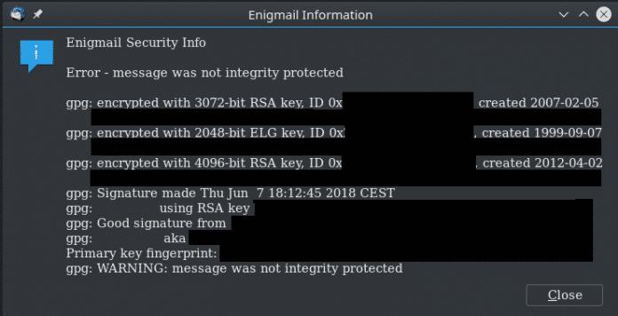 Bisher erzeugte GnuPG beim Fehlen des Modification Detection Codes nur eine Warnung; viele Programme ignorierten die jedoch. Deshalb gibt es jetzt harte Fehler.