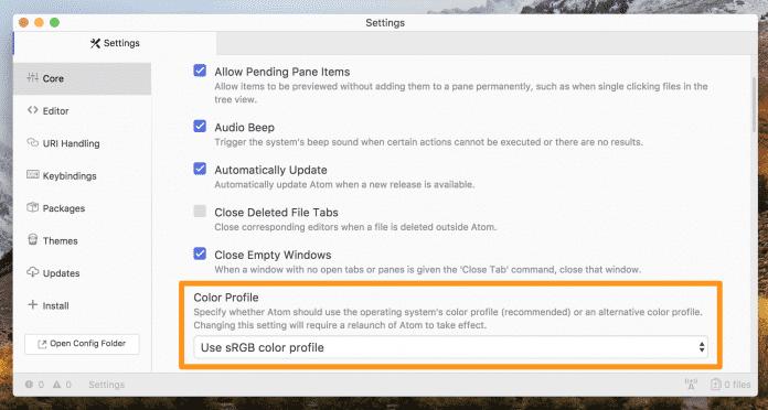 Mehr Auswahl für die Entwickler: Mit der Version 1.28 können sie nun Farbprofile auswählen. (Bild: GitHub)