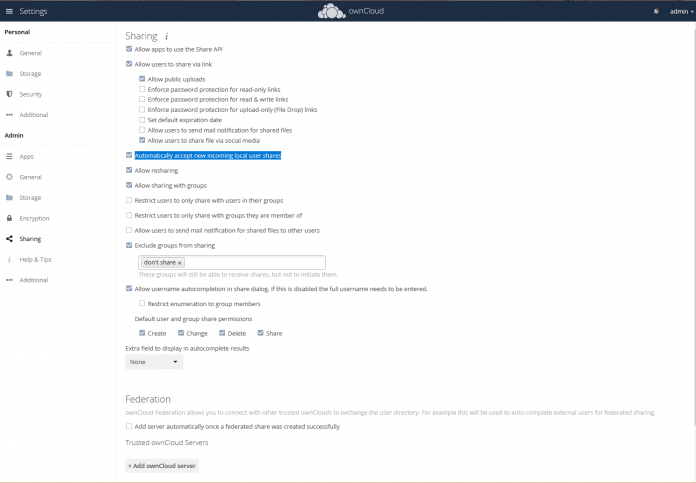 Administratoren können detailliert die Optionen zu Freigaben und Teilen für Nutzer einstellen.