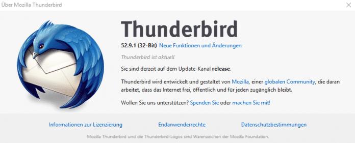 """""""Thunderbird ist aktuell"""", behauptet die Versionsinfo aus 52.9.1. [--] denn ein Update auf 60 bekommt man derzeit nur in Eigenregie."""