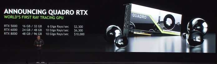 Drei neue Quadro-Grafikkarten mit Turing-GPU.