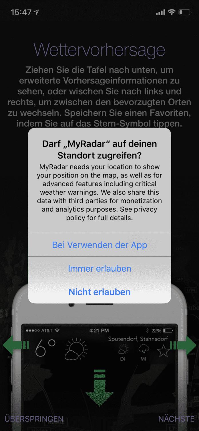 Manche Apps weisen auf die Weitergabe von Ortsdaten hin und verweisen auf die eigenen Datenschutzbestimmungen.