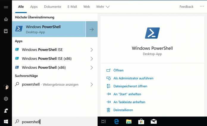 Die Windows-Suche präsentiert nun auf Anhieb mehr Details – etwa Startoptionen für Programme oder auch Web-Suchergebnisse.