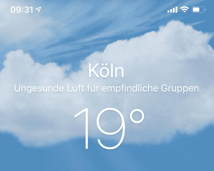Wetter-App iOS 12 ungesund