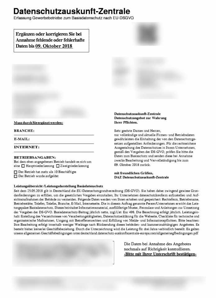 """Ausschnitt aus dem Fax der """"Datenschutzauskunft-Zentrale"""""""