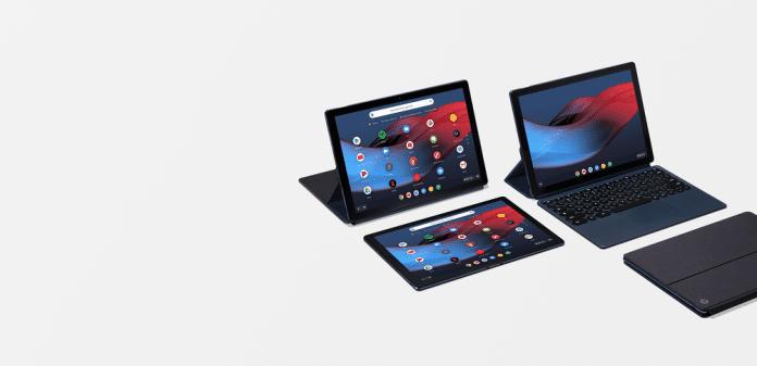 Nur mit Andock-Tastatur kann man das Pixel Slate aufstellen, einen eigenen Standfuß hat ads Tablet nicht.