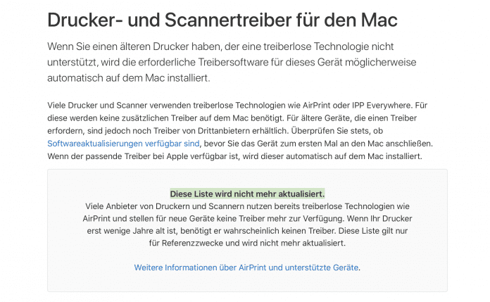 Apples Kompatibilitätsliste für Mac-Drucker wird nicht länger gepflegt.