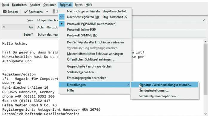 Das PGP-Add-on Enigmail wird anfängerfreundlicher