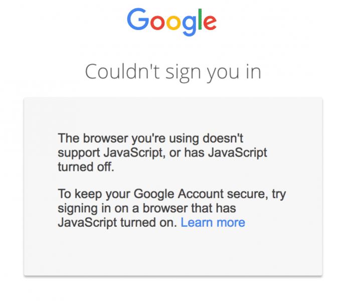 Google: Ohne JavaScript kein Login.