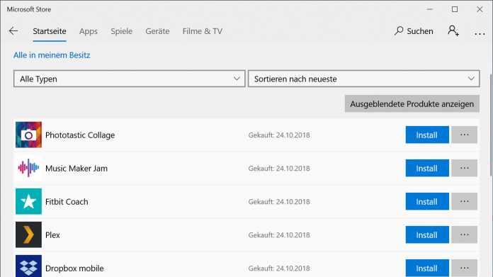 Windows 10: Store kann App-Verlauf nicht vergessen