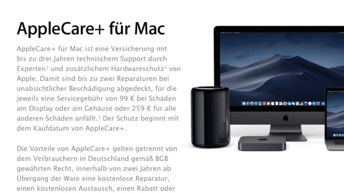 AppleCare für Mac: Unfallschäden nun mit abgedeckt