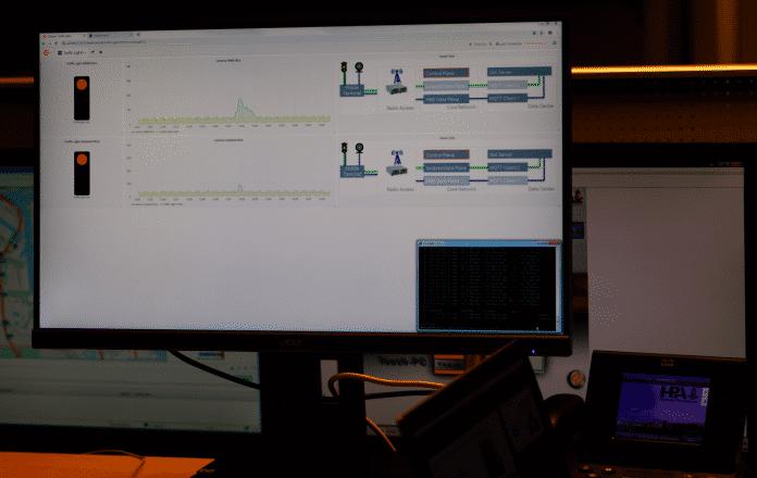 Network Slicing grafisch dargestelt: Der obere Network Slice befördert größere Mengen an zeitlich unkritischen Internet-Daten. Sie bremsen den Verkehr im unteren Network Slice nicht, die Latenz bleibt kurz und damit die Ampelanlage umgehend vom Leitstand aus ansprechbar.