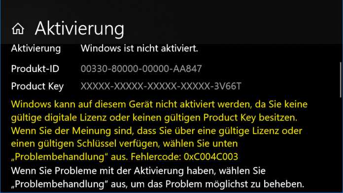 Windows 10 Pro: Aktivierung digitaler Lizenzen gestört