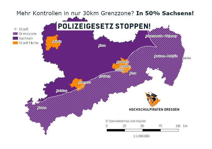 """Zur geplanten Überwachungszone gehört fast die Hälfte der gesamten Fläche des Freistaats. Der laut Gesetz vorgesehene """"30-Kilometer-Grenzstreifen"""" erstreckt sich zwischen Dresden und Chemnitz."""