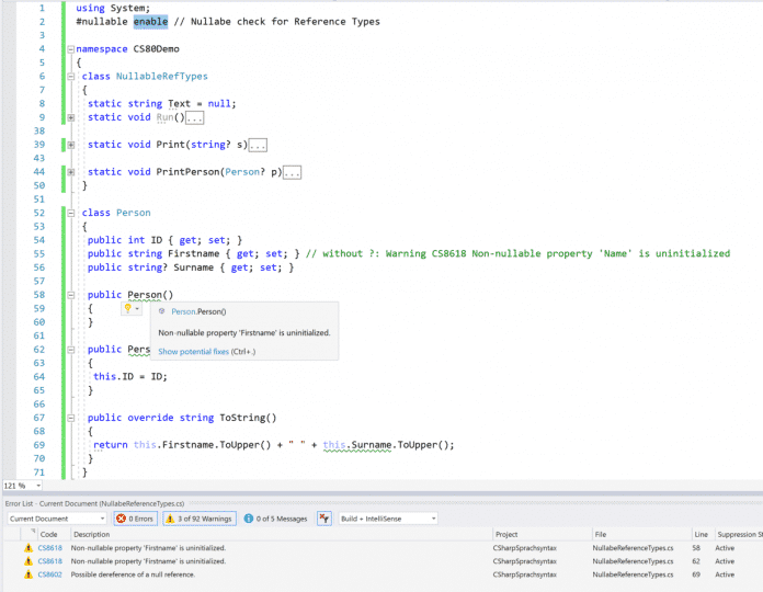 Null-Prüfung für Referenztypen in C# 8.0