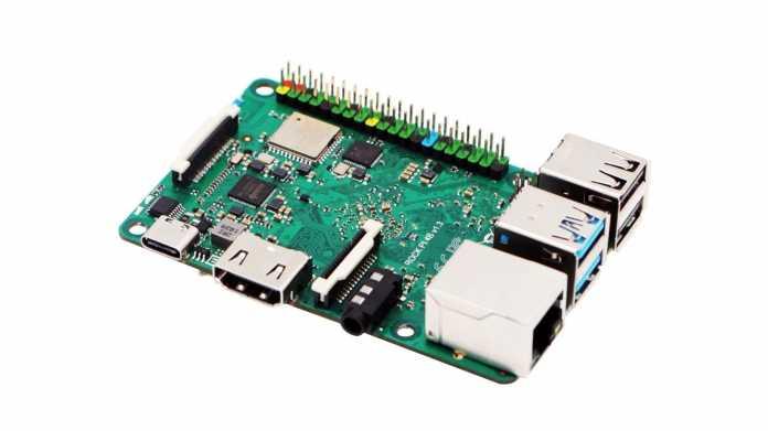 Einplatinenrechner Rock Pi 4B: eine grüne Platine