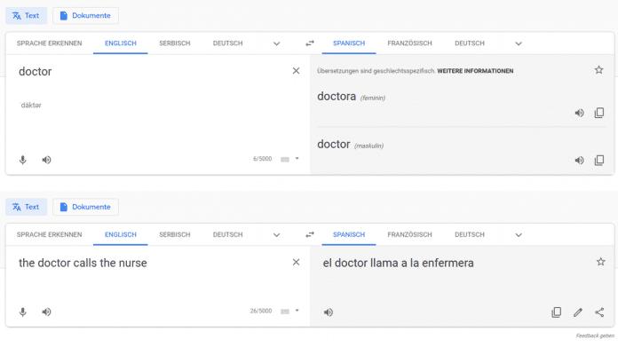 Bei Einzelworten hat Google Translate weniger Vorurteile als in ganzen Sätzen.