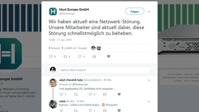 Netzwerk-Störung: Webseiten von Host Europe nicht erreichbar