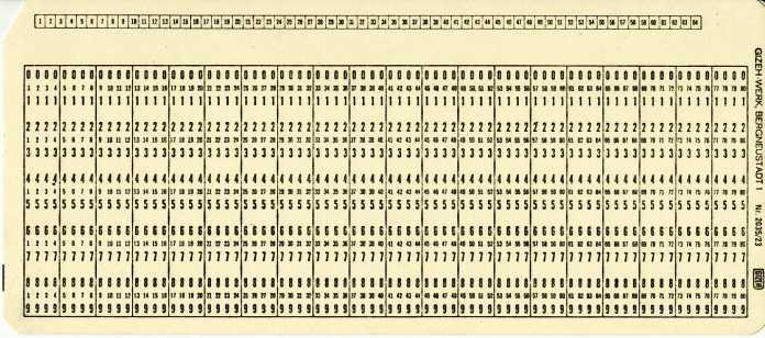 Lochkarte IBM-Standard mit 80 Zeichen.