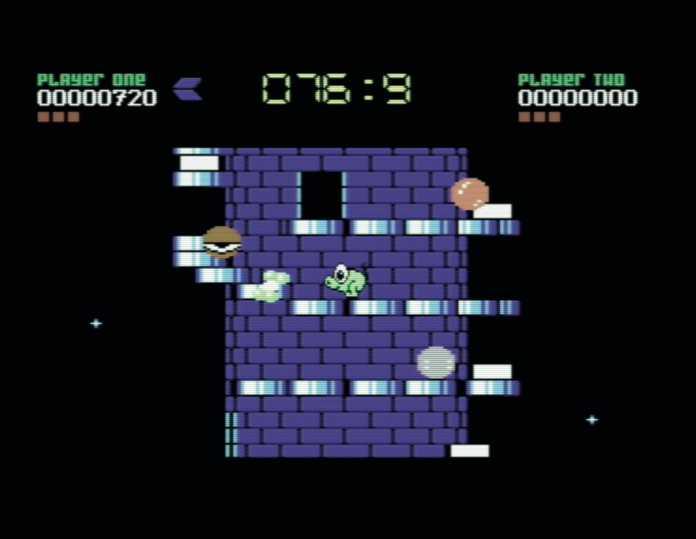 Wer die sich drehenden Türme im Plattformer Nebulus sieht, mag kaum glauben, dass hier nur ein C64 am Werk ist.