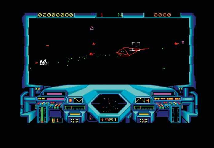 Dank des schnell getakteten 68000er-Prozessors konnte der Atari ST gut 3D-Spiele darstellen, hier Starglider von Rainbird.