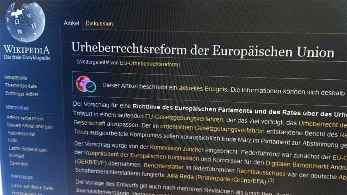 Protest gegen EU-Copyright-Reform und Artikel 13: Wikipedia macht einen Tag dicht