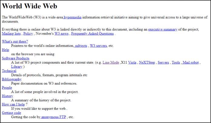 """""""Web-Brutalismus"""" vom Feinsten: Die erste Website im frühen WWW."""