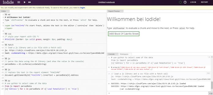 Das Beispiel-Notebook bietet einfachen JavaScript- und Python-Aufrufe.