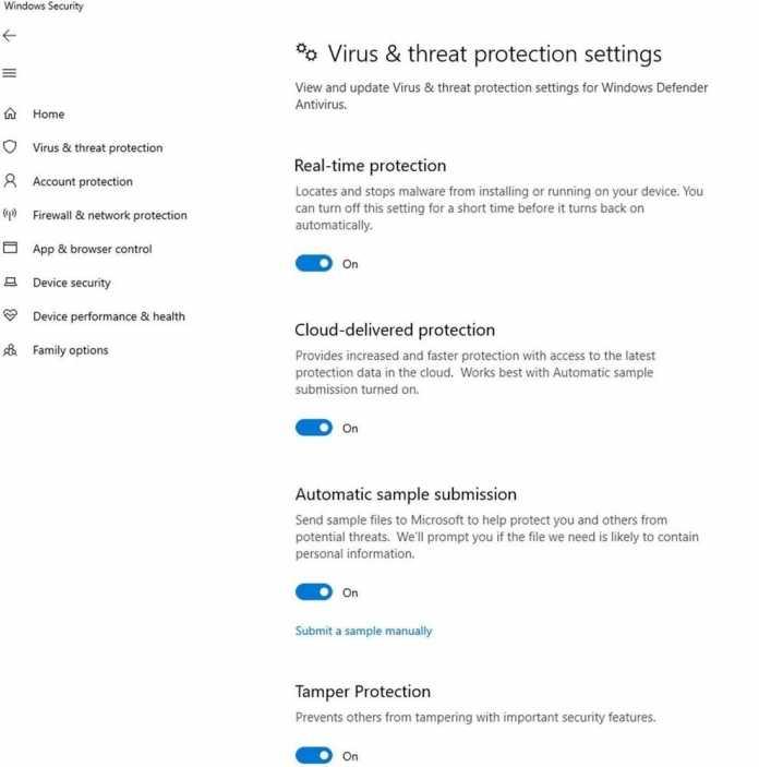 Manipulationsschutz für Microsoft Defender ab Windows 10 V1903