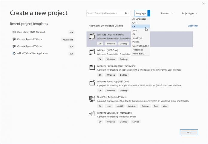 Der neue Projektdialog in Visual Studio 2019 inklusive WPF und Windows Forms .NET Core 3.0 – aber noch ohne Designer