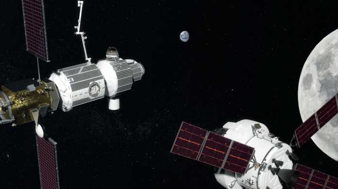 Das Deep Space Gateway der NASA soll künftig den Mond umkreisen und als Ausgangsstation für tiefere Reisen in den Weltraum dienen.
