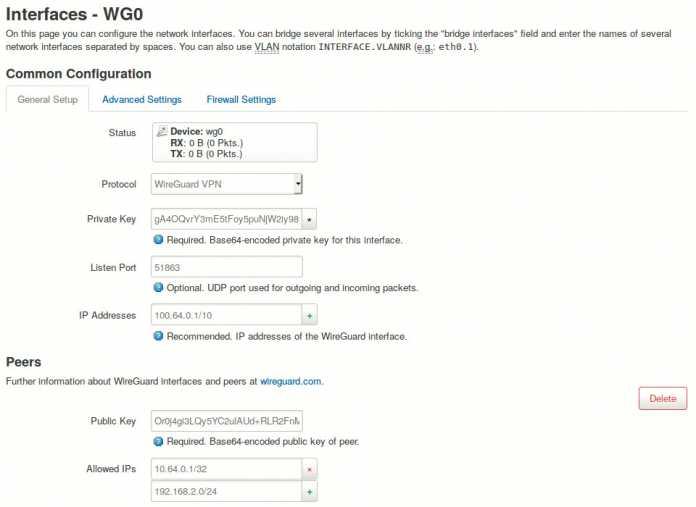 Das moderne VPN-Protokoll WireGuard ist bereits in die OpenWrt-Oberfläche LuCI integriert, sodass man die Kommandozeile nur zur Schlüsselgenerierung benötigt.
