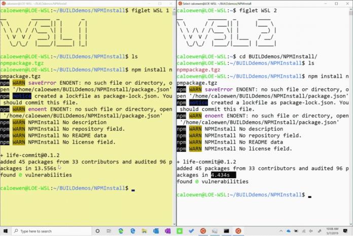 WSL 2 bietet deutlich schnellere Dateisystemoperationen, hier am Beispiel npm install