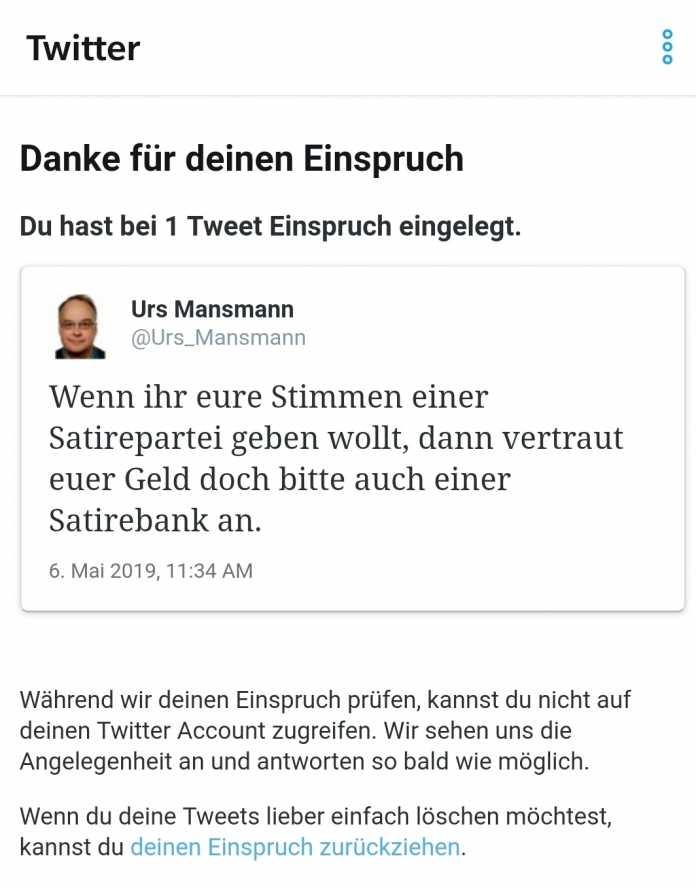 Twitter-Account gesperrt