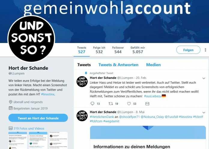 Twitter-Account Hort der Schande