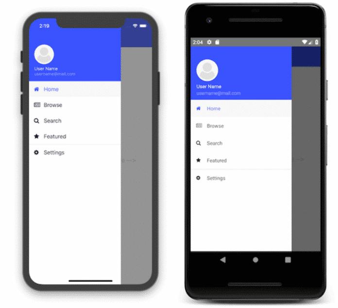 Eine SideDrawer-Anwendung über Vue.js in iOS und Android.