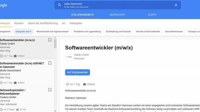 Jobangebote: Google startet Stellensuch-Funktion in Deutschland