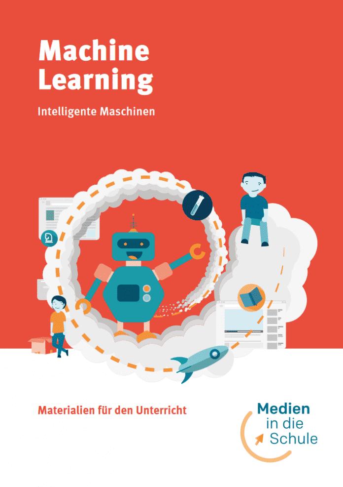 Cover Broschüre Machine Learning mit einem Roboter und Kindern darum.