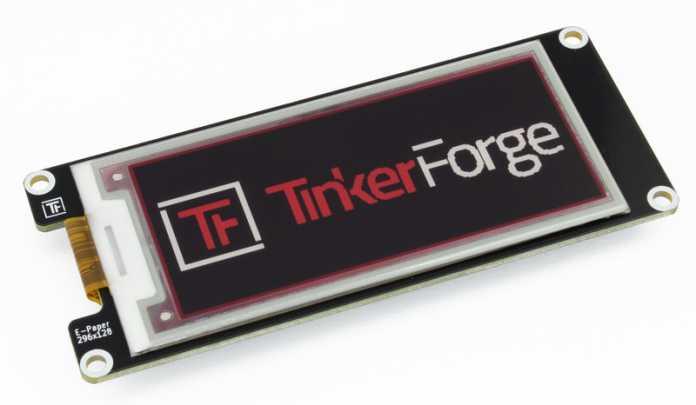 """Ein schmales E-Paper-Display mit der Aufschrift """"Tinkerforge""""."""