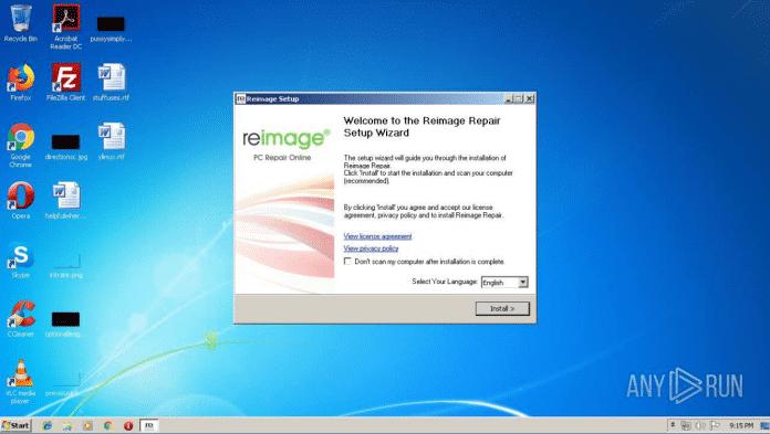 """In einer Analyse der Online-Sandbox any.run sieht man, dass sich Reimagerepair.exe als """"Reparatur-Software"""" tarnt."""