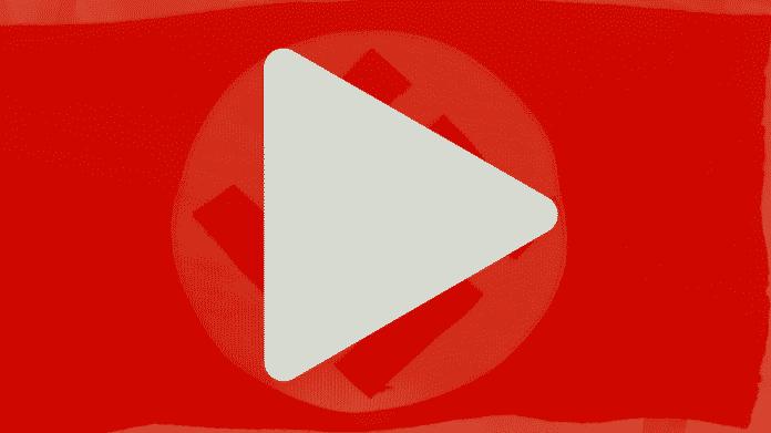YouTube-Logo, durch welches ein Hakenkreuz durchschimmert