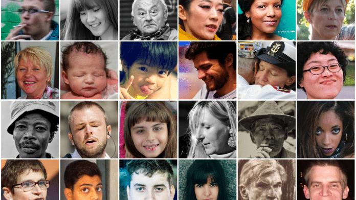Sammlung von manipulierten und unveränderten Porträtphotos.