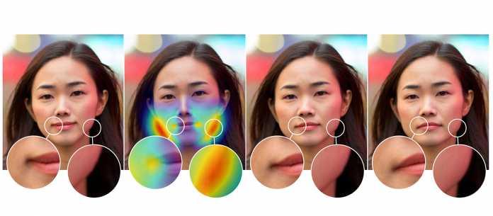 Vier Varianten desselben Porträts, mit Hervorhebungen von relevanten Ausschnitten.