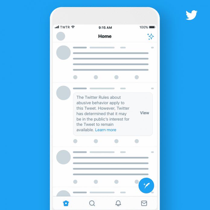 "Hinweis auf Regelverstoß, gefolgt von: ""Twitter has determined that it may be in the public interest that the tweet remain available."""