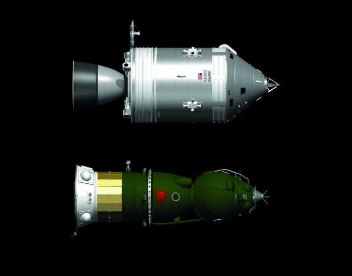 Apollo und LOK (unten) im Größenvergleich. Das zehn Tonnen schwere LOK hätte Platz für zwei Kosmonauten geboten und Energie aus Brennstoffzellen erzeugt.
